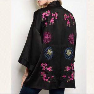 Cosima embroidered satin kimono jacket cover up